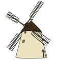 Old stone windmill vector image