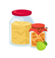 pickled apples and big jar of sweet jam vector image vector image
