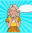 pop art happy girl drinking milk vector image vector image