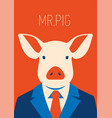 portrait of a pig in suit and tie vector image