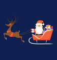 santa claus flying in sleigh with gifts and deer vector image