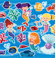 seamless background with mermaids and fish vector image