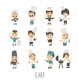 Set of chef costume characters eps10 vector image