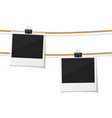 set of polaroid photo hanged on rope vector image vector image