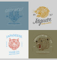 set of wild animals logos grunge label print vector image