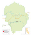 simple overview map yosemite national park vector image vector image