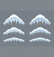 snow cap ice set winter design snowy icicle roof vector image vector image