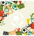Sports background with soccer football flat icons vector image vector image