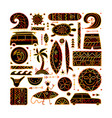 surfing background tribal elements for your vector image vector image