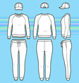 Sweatshirt cap and sweatpants set vector image