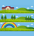 three background scenes with green lawn vector image vector image