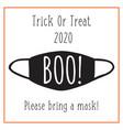 trick or treat halloween 2020 postcard design face vector image