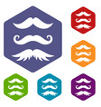 moustaches icons set vector image