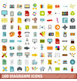 100 diagramm icons set flat style vector image