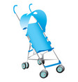 a blue baby stroller on white vector image