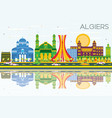 algiers skyline with color buildings blue sky and vector image vector image