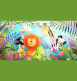 baby animals in african jungle forest landscape vector image