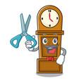 barber grandfather clock character cartoon vector image