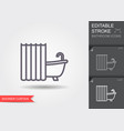 bath with shower curtain line icon with editable vector image vector image