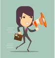 business woman talking into a megaphone vector image
