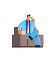 businessman talking on mobile phone happy business