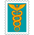Caduceus stamp vector image vector image