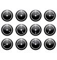 clock symbol set white on black isolated on white vector image