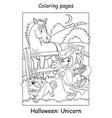 coloring page girl with a dog in unicorn costumes vector image vector image