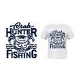 crab mascot t-shirt apparel print mockup vector image vector image