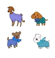 Cute cartoon dogs in winter clothes vector image