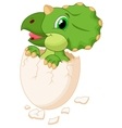 Cute dinosaur cartoon hatching vector image vector image