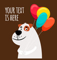 cute dog with balloons greeting card vector image vector image