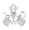 cute mermaid with clouds and rainbow vector image