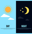 day and night theme with sun moon stars and vector image