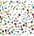 doodle cartoon kitchen elements seamless vector image vector image