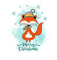 doodle christmas card with dressed fox vector image vector image
