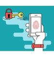 Fingerprint scanning on smartphone vector image vector image
