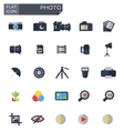 flat photo icons set vector image
