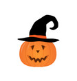 halloween pumpkin in a witch hat isolated vector image vector image