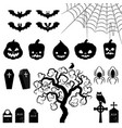 halloween silhouette elements vector image