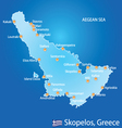 Island of Skopelos in Greece map vector image