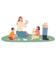 kindergarten teacher plays with children she vector image