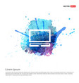 laptop icon - watercolor background vector image vector image