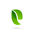 Letter E eco leaves logo icon design template