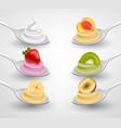 mini desserts on spoon set vector image