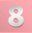 number 8 cut paper vector image vector image