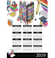 online education 2019 year calendar template vector image vector image