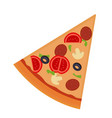 piece of pizza with salami mushrooms tomato vector image vector image