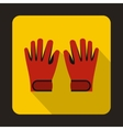 Red winter ski gloves icon flat style vector image vector image