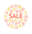 sale signs round design template thin line icon vector image